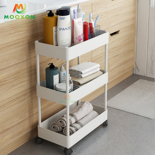 Bathroom Removable Corner Shelf 4 Tier Utility Storage Organizer Rolling Trolley Rack