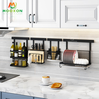 Kitchen Free Drilling Wall Mounted Stainless Steel Dish Drainer Utensil Storage Rack