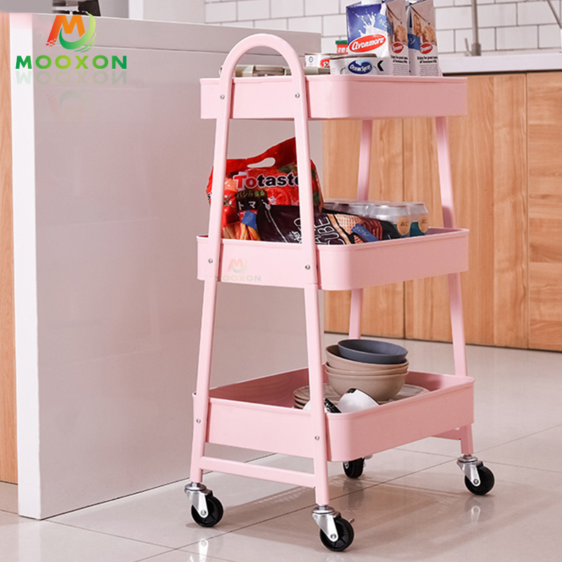 Rolling Household Utility Hand Carts Shelves Storage Home Bathroom Kitchen Trolley