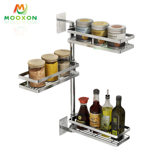 Top Sale 3 Tiers Adjustable Kitchen Storage Shelf Stainless Steel Rotating Spice Rack