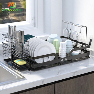 Space Save Kitchen Dishes Drainer Storage Shelf Stand Folding Dish Bowl Plate Rack
