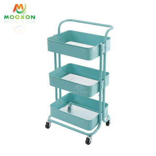 3 Tier Carbon Steel Kitchen Rolling Kitchen Organizer Home Storage Trolley Cart