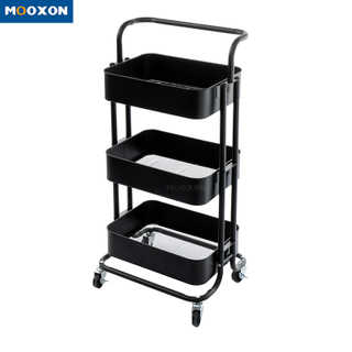 3-Tier Bathroom Office Trolley Cart Home Organizer Utility Baskets Organizer Shelf Kitchen Storage