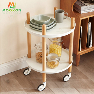 2 Tier Restaurant Standing Type Storage Holder Home Trolley In Hand Carts