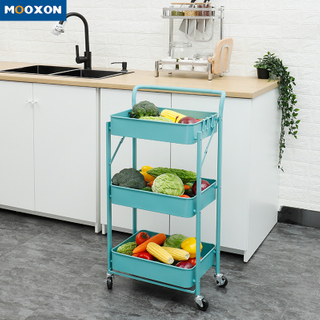 3-Tier Metal Rolling Utility Cart Storage Trolley Mobile Organizer Shelf Kitchen Rack