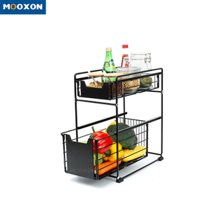 2 Tier Desktop Kitchen Bathroom Storage Shelf Sliding Basket Under Sink Drawer Rack
