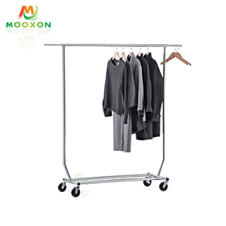 Mondern Metal Single Rail Clothes Rack Hanging Organizer With Shoes Rack