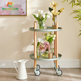 2 Tier Modern Home Rolling Storage Trolley Kitchen Storage Trolley Cart