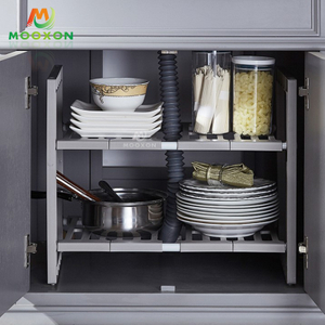 2 Tier Extendable Stackable Under Sink Organizer Sliding Basket Cabinet Kitchen Racks