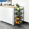 3/4/5 Tier Metal Mesh Basket Rolling Utility Kitchen Storage Cart Shelving Trolley
