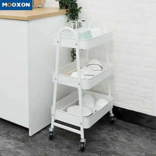 Space Save 3Tiers Metal Utility Cart Home Storage Rack Movable Wheeled Trolley