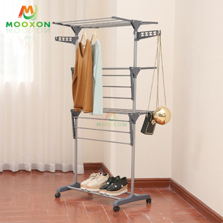 3 Layers Multifunction Home Balcony Clothes Drying Rack Storage Holder