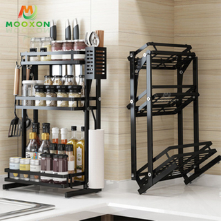 Foldable Kitchen Stainless Steel Spice Rack Jar Bottle Shelf Corner Organizer