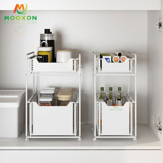 Utility Metal Under Sink Sliding Drawer Kitchen Storage For Under The Sink Countertop