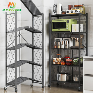 3/4/5 Tiers Foldable Space Save Storage Cabinet Wire Rack Kitchen Pantry Organizer