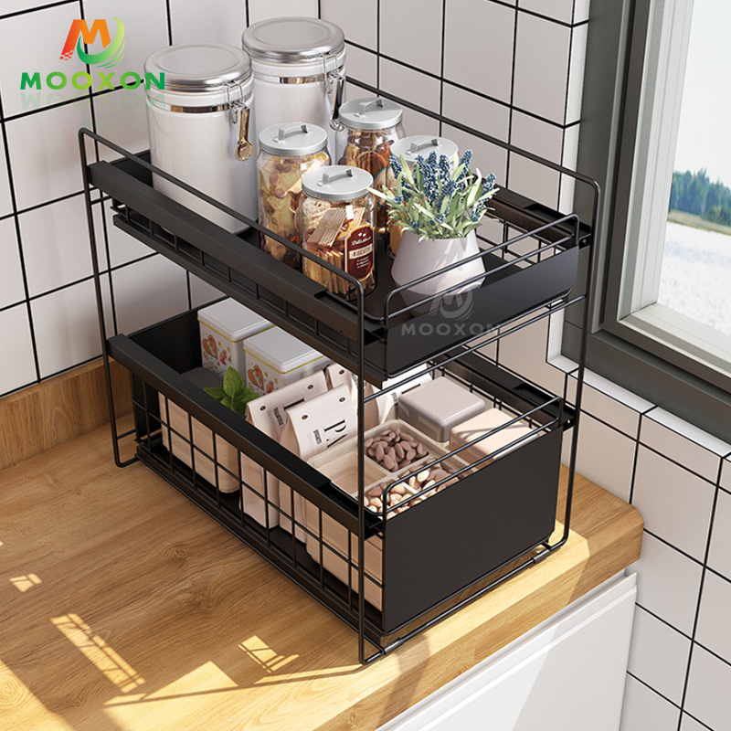 2 Tier Kitchen Metal Storage Shelf Cabinet Drawer Basket Under Sink Stackable Rack