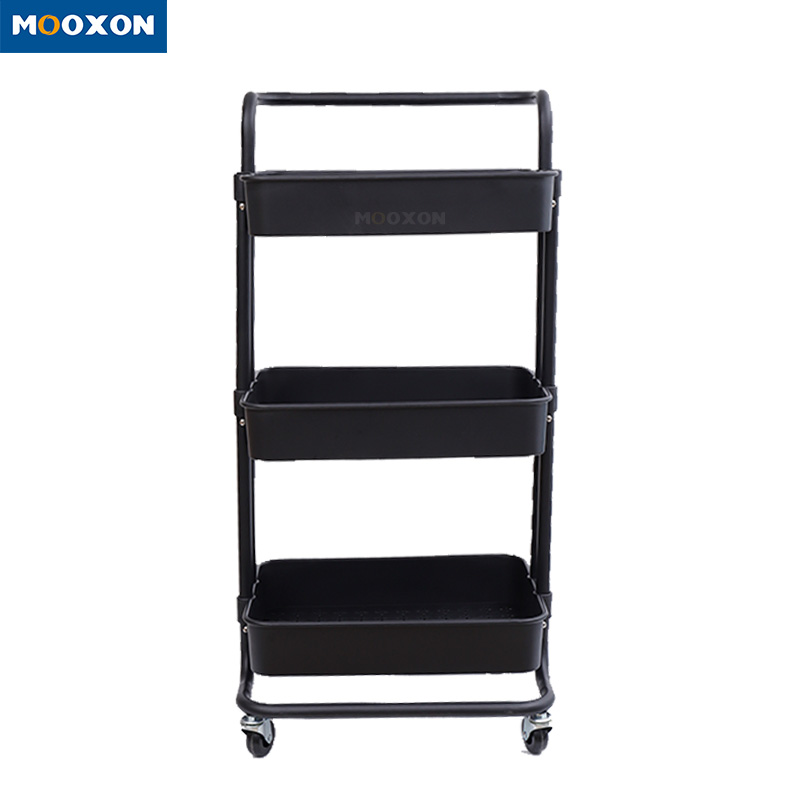 Modern Bathroom Storage Rack Salon Shelf Kitchen Trolley Roll Mover Cart Rack