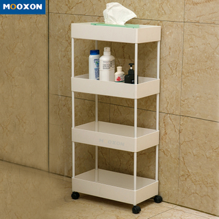 Rolling Shelves Service Cart Mesh Basket Kitchen Bathroom Storage Trolley