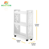 Kitchen Multifunction 3 Tier Narrow Edge Rolling Trolley Carts With Wheels