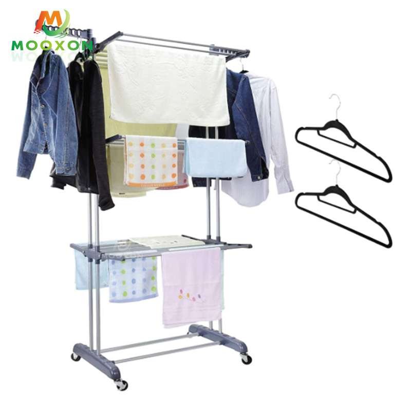 Easy To Assemble 3 Layers Multipurpose Clothes Drying Rack For Indoor And Outdoor Balcony