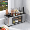 New Product Standing Type Stainless Steel Storage Box Spice Rack Organizer