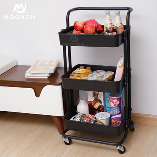 Movable 3 Tiers Home Multi-function Kitchen Organizer Rolling Storage Shelf Trolley Cart Rack