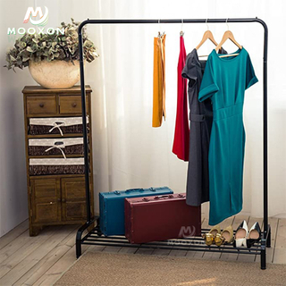 Garment Rack Free-Standing Clothes Shelf Top Rod Lower Storage Organizer Coat Hanger