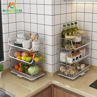 Kitchen Vegetable Fruit Rack Storage Stackable Baskets Bathroom Shelves Organizer