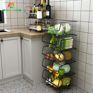 Kitchen Trolley Vegetable Rack Storage Baskets Rolling Bathroom Moveable Organizer Cart