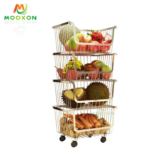 4-Tier Stainless Steel Stackable Organiser Rolling Metal Wire Baskets Trolley