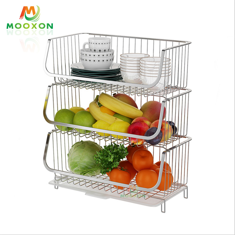 3 Tier Stainless Steel Standing Stacking Shelf Mesh Supermarket Storage Wire Basket Stackable