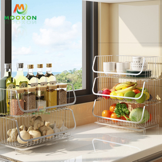 Kitchen Organizer Vegetable Storage Basket Metal Fruit Rack Utility Trolley Corner Shelf