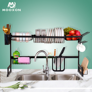 2-Tier 95cm Stainless Steel Dish Rack Drainer Utensils Holder for Kitchen Sink Countertop