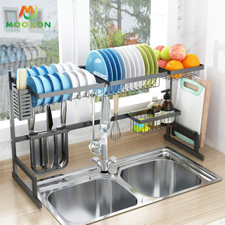 Upgrade 2 Tiers 95cm Metal Dish Drying Rack Drainer Kitchen Stand Storage Holders With Cup Holder