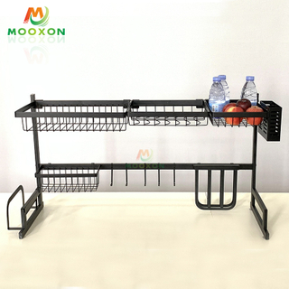 Wholesale 2 Tier Eco-friendly 91cm Stainless Steel Tableware Kitchen Drying Dish Rack With Drainer