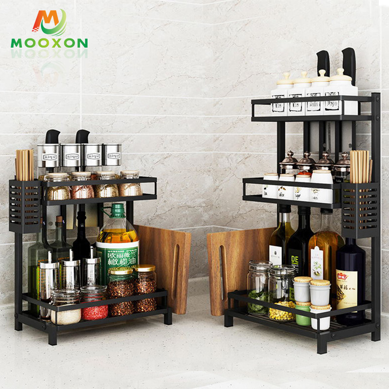 Easily Assembled 3 Tier Stainless Steel Bottle Storage Holder Dry Rack Spice Rack Kitchen
