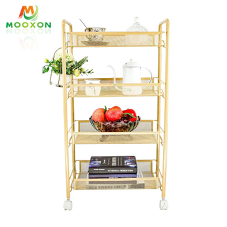 3-Shelf Mesh Wire Rolling Cart Wheels Durable Metal Utility Trolley Organizer Home Office Storage Holders