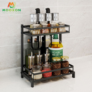 2/3 Tier Metal Jar Holder Corner Stand Kitchen Bottle Rack Storage Organizer Spice Shelf