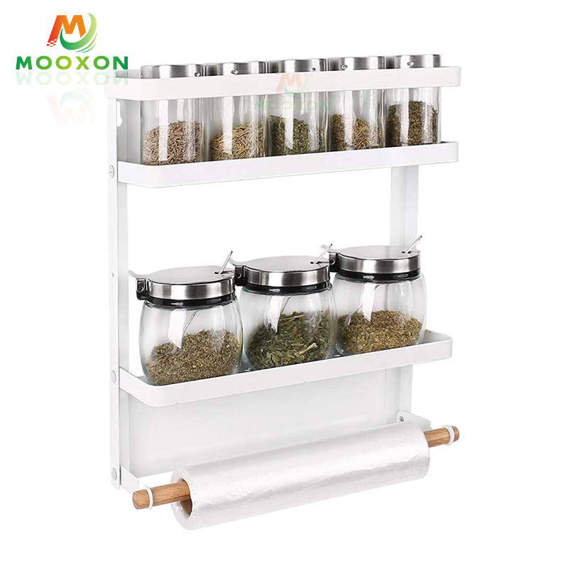 Adjustable Multifunctional Storage Shelf Kitchen Organizer Shelf Magnetic Fridge Rack