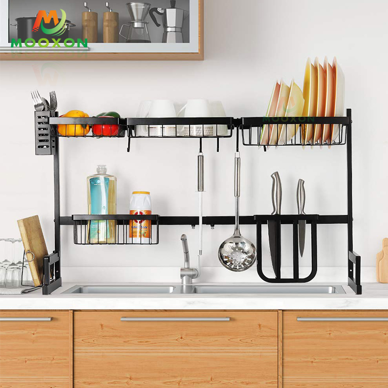 Free Standing Stainless Steel Kitchen Black Dishes Drying Organizer Dish Storage Drainer Rack