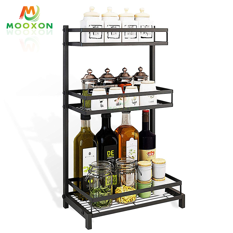 2/3 Tier Stainless Steel Storage Holder Jar Organizer Bottle Kitchen Spice Rack