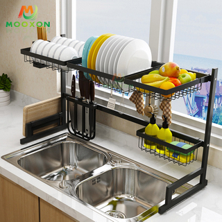91cm Kitchen Space Saver Plate Holder Storage Organizer Shelf Dish Drying Drainer Rack