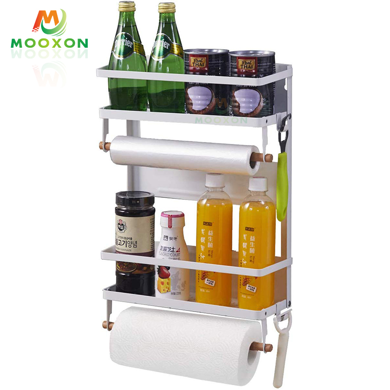 Metal Fridge Side Storage Shelves Kitchen Spice Holder Bathroom Washer Hanging Refrigerator Rack