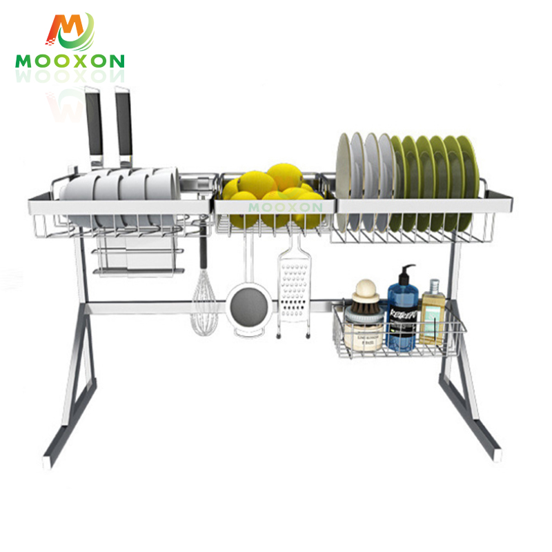 High Quality Stainless Steel Kitchen Storage Shelf Plate Organizer Dish Drying Drainer Rack